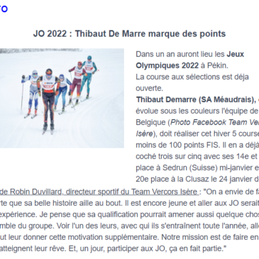 L'Info – Janvier 2021 |JO 2022: Thibaut De Marre marque des points